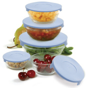 Norpro Glass Bowl Set with Lids, Pack of 10, Transparent