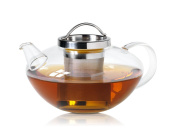 Wollenhaupt 49694 Glass Tea Pot 1.2 L Lotus with Stainless Steel Strainer