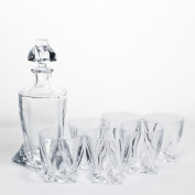 Quadro Whiskey Crystal Set decanter + 6 glasses Whisky
