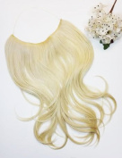 APLUS PINK VEIL Halo Hair Extension Synthetic Wave Hair 36cm - 46cm Colour#24B613HL- Light Blonde/Yellow Blonde