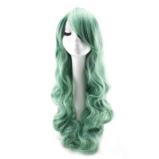 WELLKAGE Women Long heat resistant wave anime cosplay wig costume party wigs (80cm )