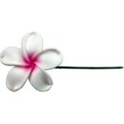 Fimo Flower Flexible Hair Pick Plumeria White & Pink