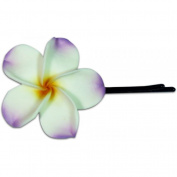 Fimo Hair Flower Large Bobby Pin Plumeria White Lilac & Yellow