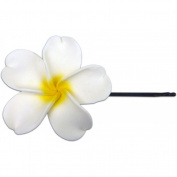 Fimo Hair Flower Large Bobby Pin Plumeria White & Yellow