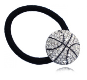 Clear Crystal Basketball Sports Ball Charm Ponytail Holder