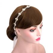 Wedding Rhinestone Lace Pearls Bridal Ribbon Hair Accessories