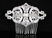 Janefashions Gatsby Clear Austrian Rhinestone Crystal Hair Comb Tiara Bridal Wedding N1809