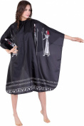 XMW Professional Water Repellent and Wipe Clean Egypt-Pattern Hair Salon Cape with Snaps Black