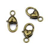 Qty:40 Jewellery Clasps Findings Supplies Craft Ancient Repair Lots DIY Antique Pendant Vintage Z71125 Love Heart Lobster Clasp