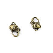Qty:10 Jewellery Clasps Findings Supplies Craft Ancient Repair Lots DIY Antique Pendant Vintage Z71123 Fish Clasp