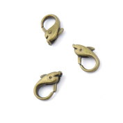 5 pieces Anti-Brass Fashion Jewellery Making Charms 1131 Dolphin Lobster Clasp Wholesale Supplies Pendant Craft DIY Vintage Alloys Necklace Bulk Supply Findings Loose