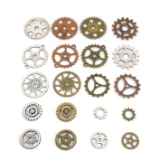 20 pcs Gears Cogs Antiqued Copper, Brass & Silver for Crafting Steampunk Jewellery & Altered Art