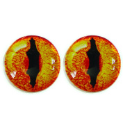 25 Mm Glass Eyes ,1 inch, Alligator,1pair for Prop Building , crafting , paper mache, clay , jewellery