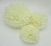 Worldoor® 12PCS Mixed Sizes Cream Ivory Tissue Paper Flower Pom Poms Pompoms Wedding Birthday Party Nursery Decoration/ Tissue Paper Pom Flowers Balls Wedding Birthday Party Decor