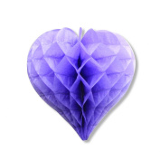 "SUNBEAUTY 5pcs 8""/20cm Heart Shaped Lavender Colour Honeycomb Balls Lanterns Tissue Paper Honeycombs Wedding Decoration Home Party Gift"