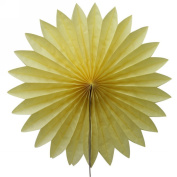 SUNBEAUTY Yellow 5pcs 36cm Handcraft Tissue Paper Fan Party Wedding Birthday Showers Decorations