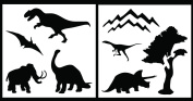 Auto Vynamics - STENCIL-DINOSET01-20 - Detailed Dinosaur Silhouettes Stencil Set - Features Multiple Dino Designs & Scenery! - 50cm by 50cm Sheets - (2) Piece Kit - Pair of Sheets