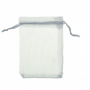 Housweety 100PCs White Organza Drawstring Pouches Jewellery Gift Bag 7cmx5cm