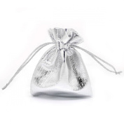 Housweety 100 Silver Plated Satin Gift Bags With Drawstring 9x7cm B16805