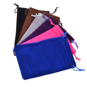 BCP Pack of 6pcs 10cm X 15cm Assorted Colour Velvet Drawstring /Jewellery /Gift /Headphones/power Bank Bag Pouches