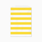 Yellow Horizontal Stripes Flat Paper Bags 13cm X 19cm Set of 25 Bags, Made in USA