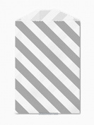 25 Grey and White Diagonal Stripe Little Bitty Bags 7cm X 10cm