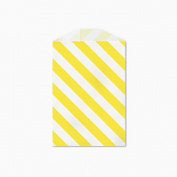 25 Yellow and White Diagonal Stripe Little Bitty Bags 7cm X 10cm