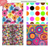 Premium Birthday or All Occasion Shapes and Flower Gift Wrap Heavy Weight Gloss Finish Wrapping Paper for Women, Men, Boys, Girls, Kids 4 Different Designs of 1.5m X 80cm Rolls / Per Pack Set Included!