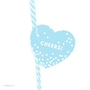 Andaz Press Heart Gift Tags, Modern Style, Cheers!, Baby Blue, 30-Pack