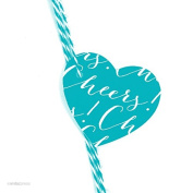 Andaz Press Heart Gift Tags, Whimsical Style, Cheers!, Aqua, 30-Pack