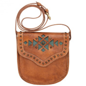 American West Makah Village Crossbody Flap Bag - Golden Tan / Turquoise