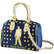 Elvis Presley Gold Suit Studded Denim Ladies Fashion Satchel Purse Handbag