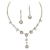 Stunning Y Drop Bridal Wedding Cream Pearl Necklace Earring Set Gold Tone Bling
