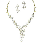 Statement Y Drop Cream Pearl Bridal Necklace Set Prom Earring Set