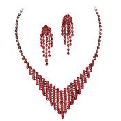 Pretty Red Rhinestone Flattering V Style Necklace Set On Grey Metal Prom Bridesmaid Evening
