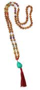 Chakra Rudraksha Malas with Gemstones, 108 Beads 7mm (Turquoise Magnasite