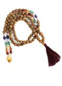 Chakra Rudraksha Malas with Gemstones, 108 Beads 7mm