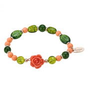 Zoccai 925 Pink Coral and Green Quartz Bracelet in Rose Gold-Toned Sterling Silver