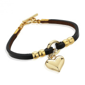 Yellow Gold and Leather Heart Charm Single Wrap Bracelet with Toggle Clasp