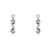 White Sapphire Two Stone Earring Jacket set in Sterling Silver