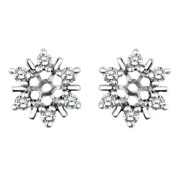 White Sapphire Round Cluster Stud Earring Jackets set in 14k White Gold