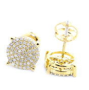 Diamond Stud Earrings 0.25ctw Sterling Silver Gold Plated 8mm Wide Screw back