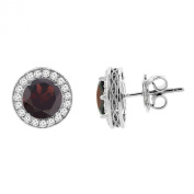14K White Gold Natural Garnet Halo Earrings with Diamond Accent, 0.5cm wide