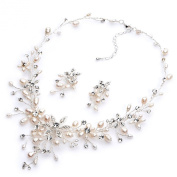 USABride Freshwater Pearl Bridal Jewlery Set with Rhinestones, Necklace & Earrings 1625