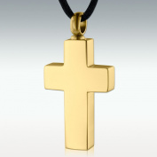 Perfect Memorials Basic Cross Gold Stainless Steel Cremation Jewellery