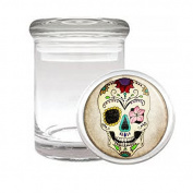 Sugar Skull D10 Medical Glass Jar 7.6cm X 5.1cm Herb & Spices Day of the Dead Dia De Los Muertos Mexican Folk Art