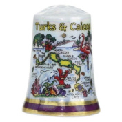 Turks & Caicos Caribbean Map Pearl Souvenir Collectible Thimble agc