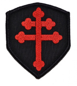 Cross of Lorraine Crusader's Cross 3x2.5 Shield Military Patch / Morale Patch - Black with Red