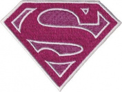 Supergirl - Pink Glittery Shield Logo - Embroidered Iron On or Sew On Patch / Badge