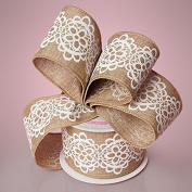 5.1cm - 1.3cm X 10YD NATURAL/WHITE LACE BURLAP RIBBON